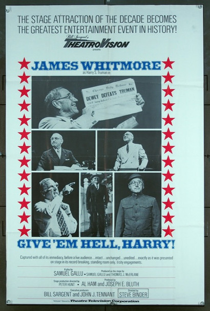 GIVE 'EM HELL, HARRY! (1975) 3277 Theater-Television Corporation One-Sheet Poster (27x41) Folded  Fine Plus Condition