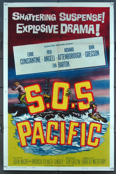 S.O.S. PACIFIC (1960) 11219 Universal Pictures One-Sheet Poster (27x41) Folded  Very Good to Fine Condition