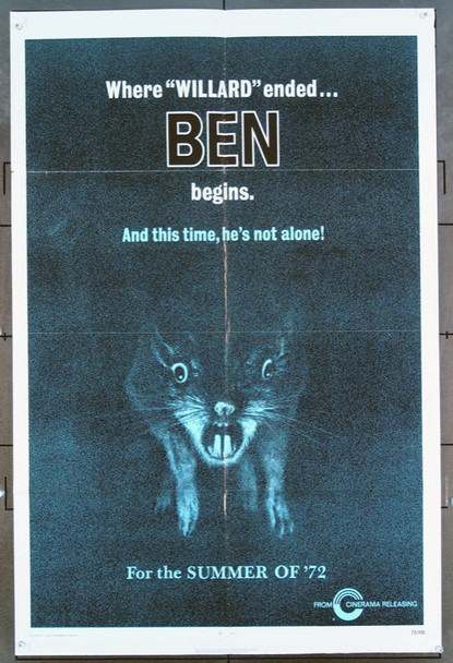 BEN (1972) 1985 Cinerama Releasing Original One-Sheet Poster  (27x41) Folded  Fine Plus to Very Fine Condition