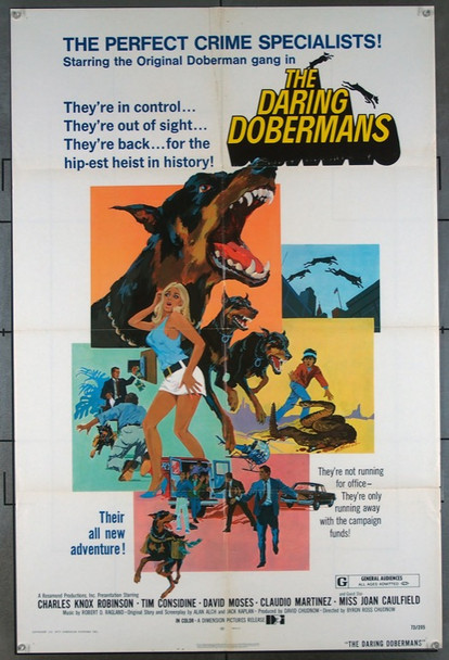 DARING DOBERMANS, THE (1973) 1973 Dimension Pictures Original One-Sheet Poster  27x41 Folded  Very Good Plus Condition