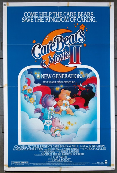 CARE BEARS MOVIE II: A NEW GENERATION   (1986) 26151 Original Columbia Pictures One Sheet Poster (27x41).  Folded.  Very Good Condition.