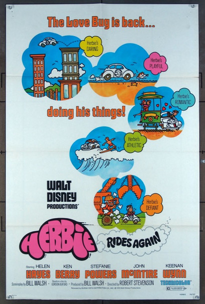 HERBIE RIDES AGAIN (1974) 26161 Original Walt Disney Productions One Sheet Poster (27x41).  Folded.  Very Fine Condition.