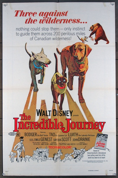 INCREDIBLE JOURNEY, THE (1963) 26162 Original Walt Disney Productions 1974 Re-Release One Sheet Poster (27x41).  Folded.  Fine Plus Condition.