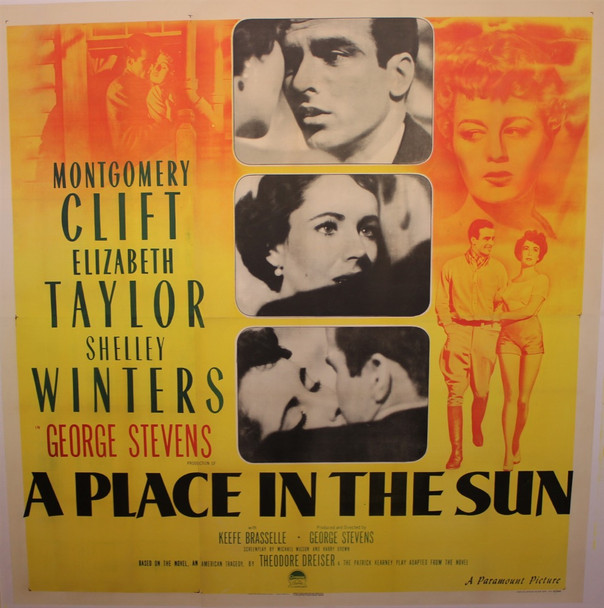 PLACE IN THE SUN, A (1951) 26284 Paramount Original Six Sheet Poster (81x81) Folded  Fine Condition