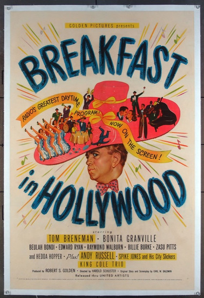 BREAKFAST IN HOLLYWOOD (1946) 22415 United Artists Original One-Sheet Poster (27x41) Very Fine Condition  Linen Backed