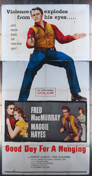 GOOD DAY FOR A HANGING (1958) 15801 Columbia Pictures Original Three-Sheet Poster  (41x81) Good Condition.