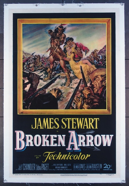 BROKEN ARROW (1950) 22511 20th Century Fox Original One-Sheet Poster (27x41) Linen-backed.  Very Fine Condition.