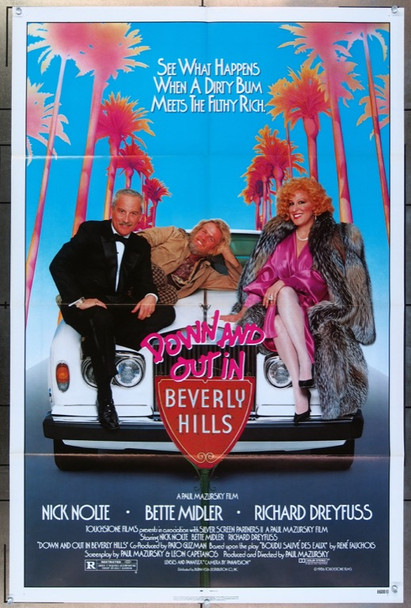 DOWN AND OUT IN BEVERLY HILLS (1986) 2691 Original Touchstone One-Sheet Poster (27x41) Folded  Very Fine Condition