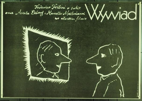 INTERVISTA (1987) 22112 Original Polish Poster (27x39).  Wasilewski Artwork.  Unfolded.  Very Fine.
