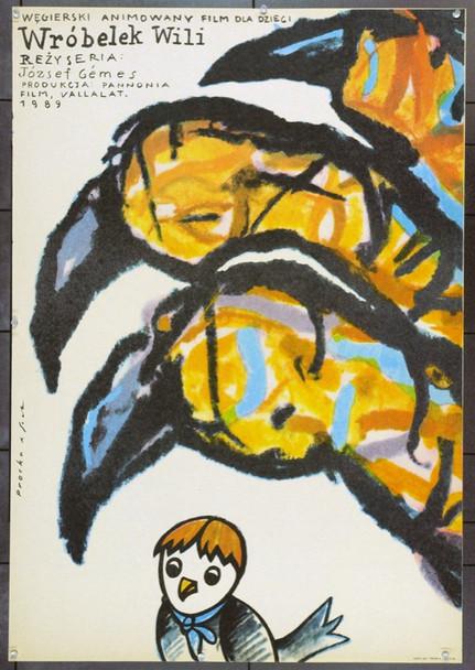 WILLY THE SPARROW (1989) 22303 Original Polish Poster (27x39).  Procka and Socha Artwork.  Unfolded.  Very Fine.