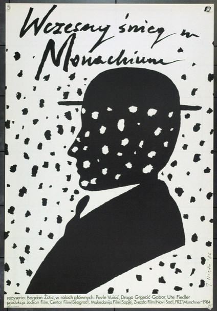 RANI SNIJEG U MUNCHENU (1984) 22349 Original Polish Poster (27x39).  Jaime Carlos Nieto Artwork.  Unfolded.  Very Fine.