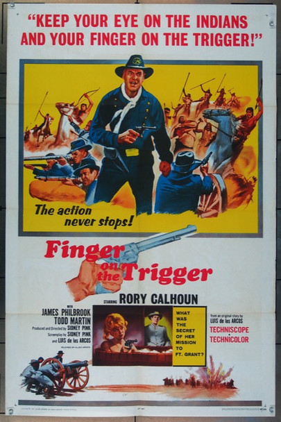 FINGER ON THE TRIGGER (1965) 2254 Allied Artists Original One Sheet Poster (27x41) Folded  Fine Plus Condition