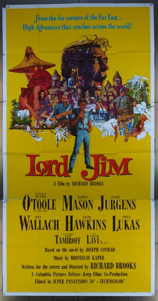 LORD JIM (1965) 26059 Columbia Pictures Original Three Sheet Poster (41x81) Folded.  Good to Very Good Condition