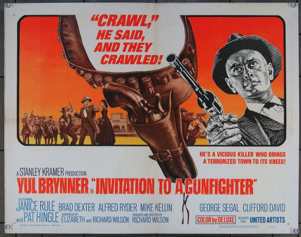 INVITATION TO A GUNFIGHTER (1964) 8756 United Artists Original Half Sheet Poster  (22x28) Fine Plus Condition  Folded