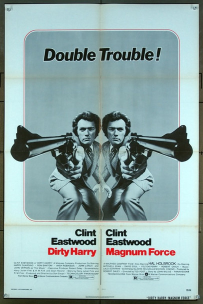 DIRTY HARRY (1971) 2213 Warner Brothers Original One-Sheet Poster (27x41) Folded.  Double-Feature Poster  Very Good Plus to Fine Condition