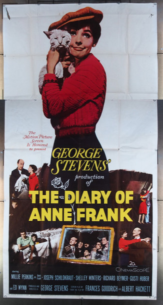 DIARY OF ANNE FRANK, THE (1959) 13579 20th Century Fox Original Three Sheet Poster (41x81)  Folded  Very Good Average Used Condition