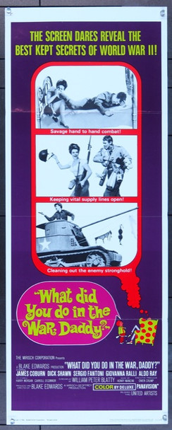 WHAT DID YOU DO IN THE WAR, DADDY? (1966) 8246 United Artists Original Insert Poster  (14x36) Folded  Fine Plus Condition