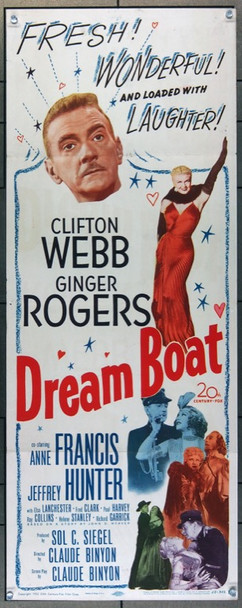 DREAM BOAT (1952) 14080 20th Century Fox Original Insert Poster (14x36) Folded  Fine to Fine Plus Condition