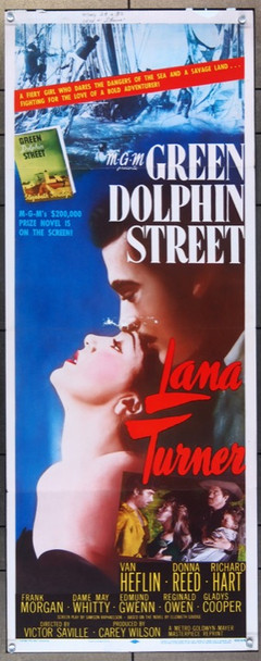 GREEN DOLPHIN STREET (1947) 14824 MGM Original Insert Poster (14x36) Folded  Re-release of 1955  Average Used (Good) Condition