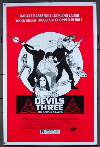 DEVILS THREE (1980) 26465 Aquarius Releasing Original One-Sheet Poster (27x41) Folded  Very Fine Condition