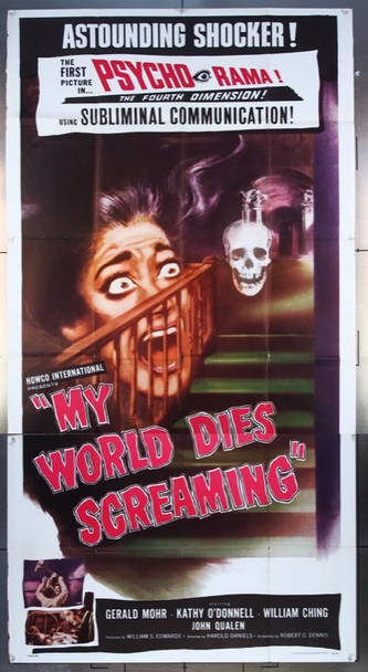 MY WORLD DIES SCREAMING (1958) 8104 Howco Original Three Sheet (41x81)  Folded  Average Used Condition  Fine