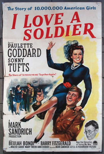 I LOVE A SOLDIER (1944) 8106 Paramount Original One-Sheet Poster  (27x41)  Folded  Good Condition  Average Used