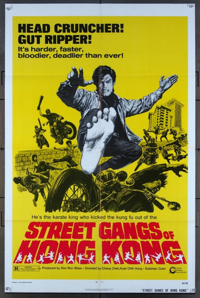 STREET GANGS OF HONG KONG (1974) 26479 Cinerama Releasing Corporation Original One-Sheet Poster (1974)  27x41 Folded  Very Fine Condition