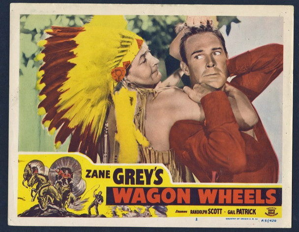 WAGON WHEELS (1934) 25720 Paramount Pictures Original Lobby Card (11x14) Very Fine Condition  Re-release of 1951