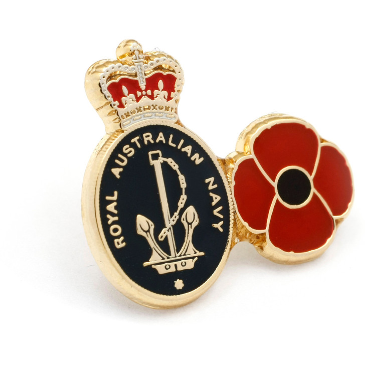 Navy Poppy Lapel Pin