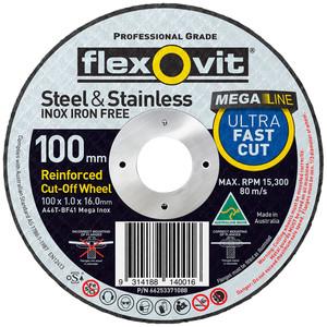 Flexovit 100mm x 1.0mm Mega Inox Ultra Thin Cut Off Wheel - 16mm Bore - 100 Pack