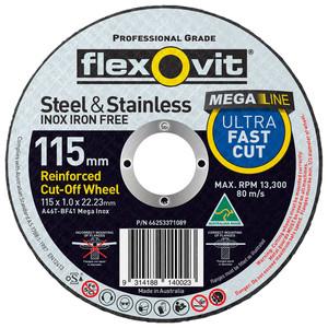 Flexovit 115mm x 1.0mm Mega Inox Ultra Thin Cut Off Wheel - 22mm Bore - 25 Pack