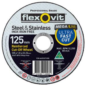 Flexovit 127mm x 1.0mm Mega Inox Ultra Thin Cut Off Wheel - 22mm Bore - 100 Pack