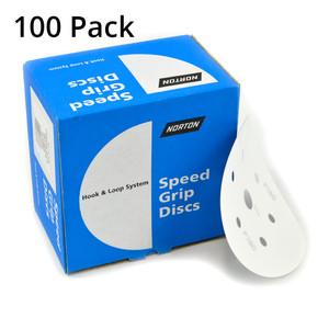 Norton Abrasives 150mm No-Fil (White) Sanding Discs 150 Grit - 6 + 1 Holes - 100 Pack