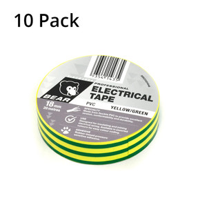 Norton Abrasives 20m x 18mm Electrical Tape - Yellow & Green - 10 Pack