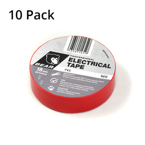 Norton Abrasives 20m x 18mm Electrical Tape - Red - 10 Pack