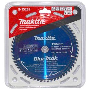 Makita BlueMak 190mm 60 Tooth TCT Wood Mitre Saw Blade - 20mm Bore