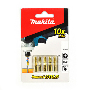 Makita PH2 x 25mm Gold Torsion Screwdriver Bits - 5 Pack