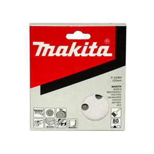 Makita 125mm White Sanding Discs Hook & Loop Style 80 Grit - 8 Holes - 10 Pack