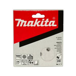 Makita 125mm White Sanding Discs Hook & Loop Style 240 Grit - 8 Holes - 10 Pack