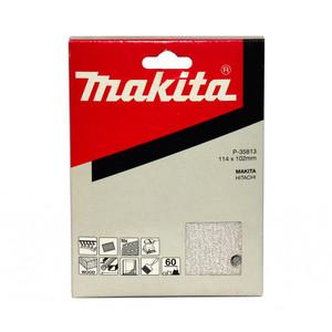 Makita 1/4 Sheet White Sanding Sheets (114mm x 102mm) Hook & Loop Style - 60 Grit - 10 Pack