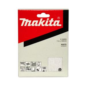 Makita 1/4 Sheet White Sanding Sheets (114mm x 102mm) Hook & Loop Style - 100 Grit - 10 Pack