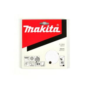Makita 150mm White Sanding Discs Hook & Loop Style 40 Grit - 9 Holes - 10 Pack