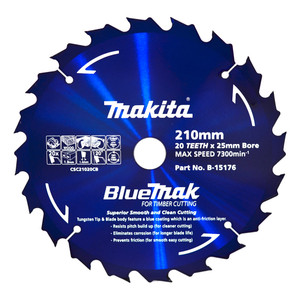 Makita BlueMak 210mm 20 Tooth TCT Wood Circular Saw Blade - 25mm Bore