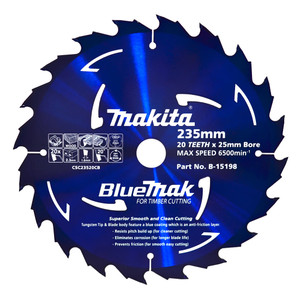 Makita BlueMak 235mm 20 Tooth TCT Wood Circular Saw Blade - 25mm Bore