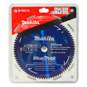 Makita BlueMak 255mm 80 Tooth TCT Wood Mitre Saw Blade - 25.4mm Bore