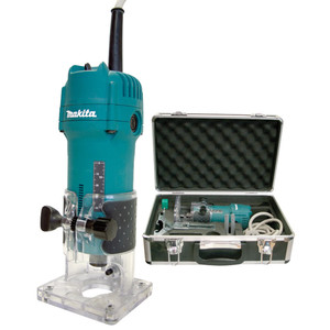 """Makita 530W 1/4""""/6.35mm Laminate Trimmer with Carry Case - 3709X"""