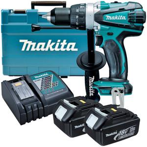 Makita 18V 3.0Ah Li-Ion Hammer Drill Driver Kit - DHP458RFE