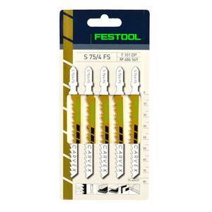 Festool 75mm x 4mm Pitch Special Wood Jigsaw Blades S 75/4 FS - 5 Pack