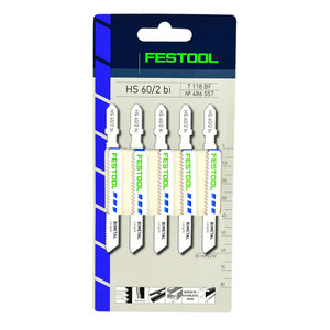 Festool 60mm x 2mm Pitch Bi-Metal Metal Jigsaw Blades HS 60/2 BI - 5 Pack