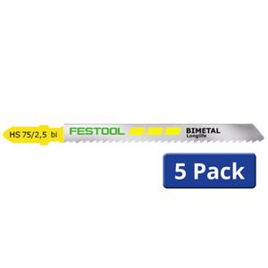Festool 75mm x 2.5mm Pitch Bi-Metal Clean Cut Jigsaw Blades HS 75/2.5 BI - 5 Pack